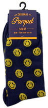 Smiley Face Mens Novelty Crew Blue Socks Casual Cotton Blend Fun Sock Gift - $12.95