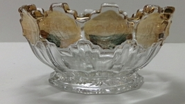 Vintage Pressed Glass Gold Trim Daisy Flower Pattern Bowl - $12.00