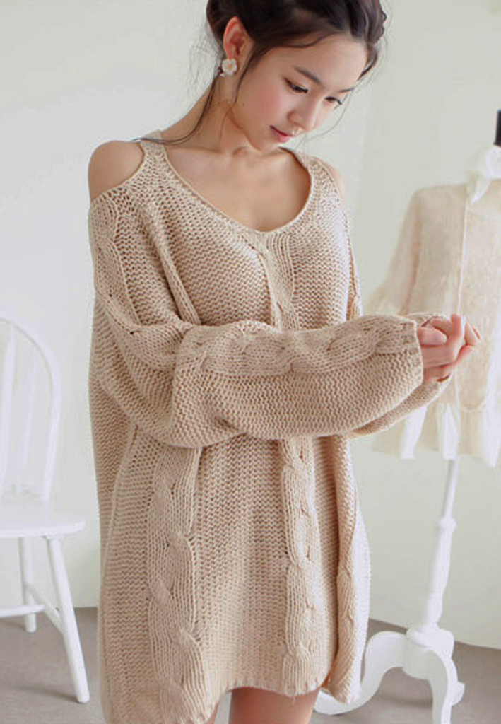 Warm Beige Off The Shoulder Chunky Knitted Sweater. Cozy ...