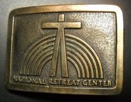 National Retreat Center Belt Buckle Wyoming Studio Art Works Brass Metal - $12.99