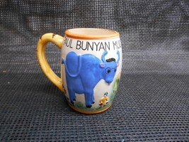 Old Vtg 1955 Geo. Z. Lefton Paul Bunyan Mug Cup Mule Tankard Woodsman Blue Ox - $29.69