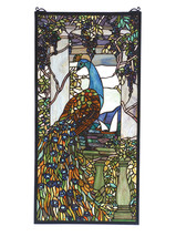 """Meyda 15""""W X 30""""H Tiffany Peacock Wisteria Stained Glass Window- 1235-70519 - $1,225.80"""