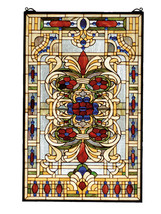 """Meyda Decoratives 22""""W X 35""""H Estate Floral Stained Glass Window- 1235-7... - $1,037.61"""
