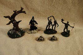 Lot of 6 Rare Lemax Spooky Town Figures Dancing Skeletons and More - $39.99