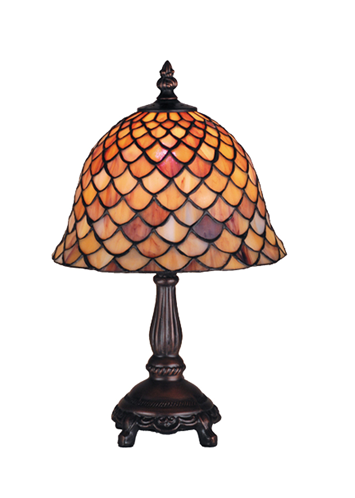"Meyda Home Indoor Decoratives 13.5""H Tiffany Fishscale Mini Lamp- 1235-67378"