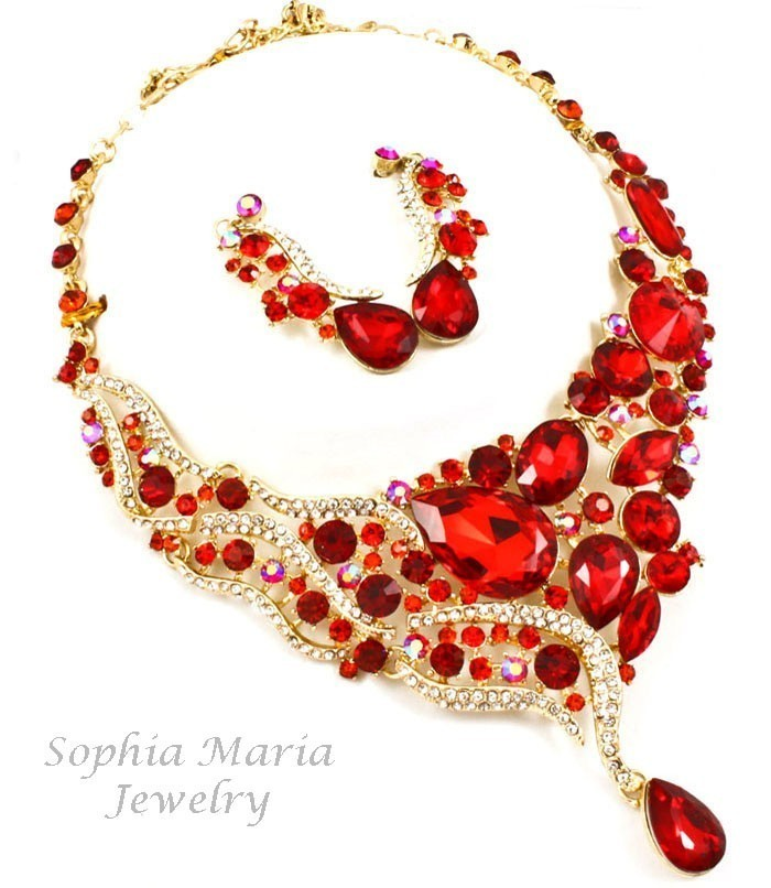 Primary image for Gorgeous red crystal teardrop evening metal necklace set mother of the bride