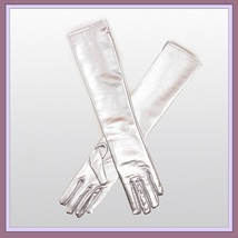 Faux Leather Elastic Long Silver White Opera Wedding Full Finger to Elbow Gloves