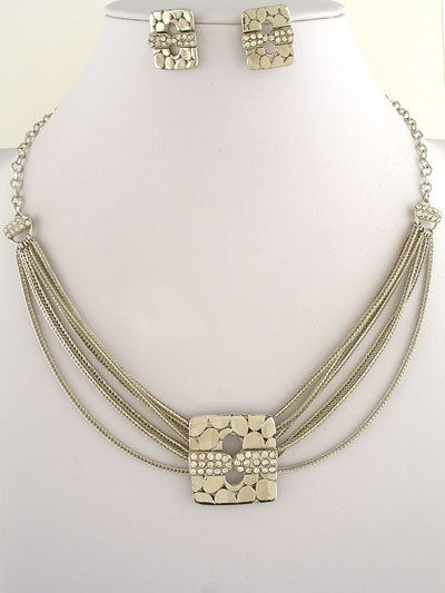 2 Tone Metal Design Necklace and Earrings Set