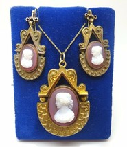 14k Yellow Gold Genuine Natural Stone Cameo Pendant and Earrings Set (#J... - $2,050.00