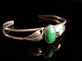 vintage Malachite Bracelet -irish green - Sterling ivy Silver Cuff Wrap ... - $135.00