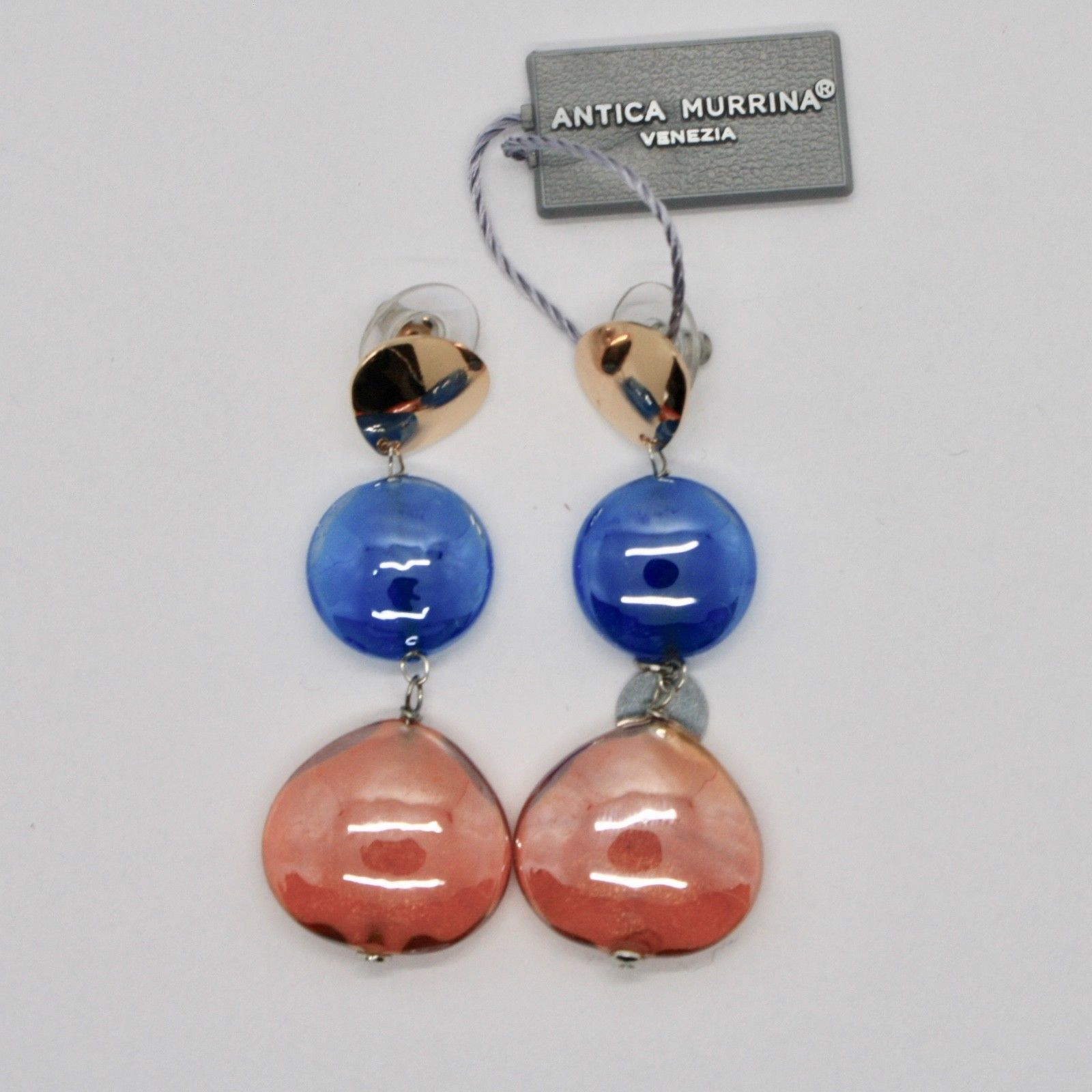 EARRINGS ANTICA MURRINA VENEZIA WITH MURANO GLASS ORANGE AND BLUE OR589A46