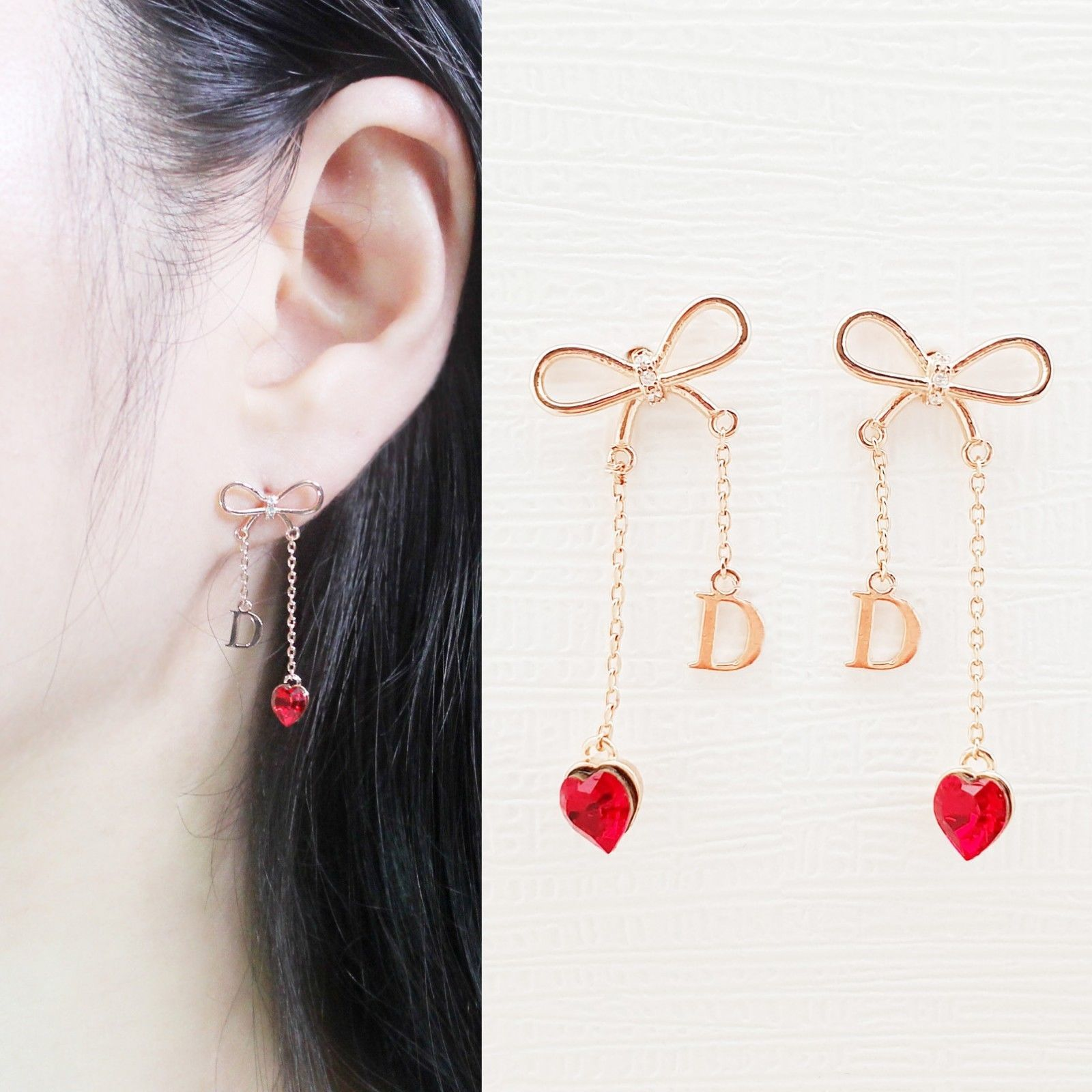 Initial D Ribbon Heart Made With Swarovski Stone Dangle Earrings Rose Gold Tone