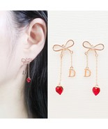 Initial D Ribbon Heart Made With Swarovski Stone Dangle Earrings Rose Go... - $27.10
