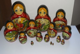 Russian Folk Fairy Tale Nesting Dolls 15 Piece Matryoshka by T. Petukhov... - $149.95