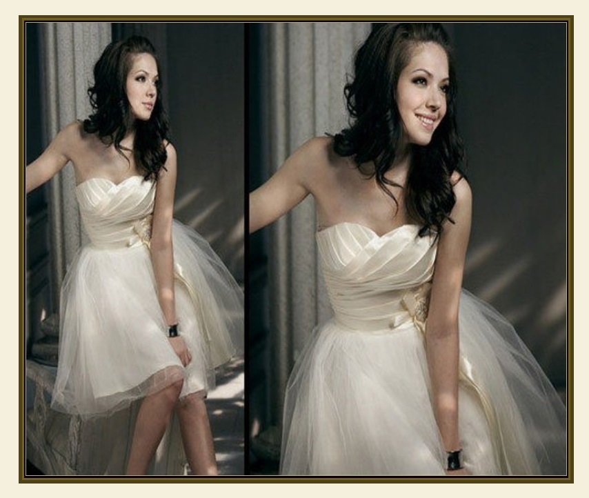 Sleeveless Champagne Satin Organza Scalloped Bodice Rhinestone Waist Ball Gown