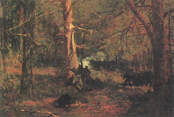 Primary image for Skirmish In The Wilderness by Winslow Homer Civil War Army Battle 25x25 Canvas
