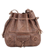 Boho Leather Shoulder Bag Tote Crossbody, Moroccan Leather Boho Shoulder... - $54.95