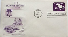 January 5, 1965 First Day of Issue, Fleetwood Cover, 5c Embossed Envelop... - $3.24