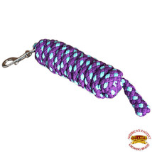 Horse Poly Horse Roping Lead Rope Purple Turquoise 1/4X8 Ft Snaps Hilason U-/TUR - $19.79