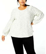 Style & Co Women's Metallic French Terry Bishop-Sleeve Top Plus Size 0X $56 - $18.11