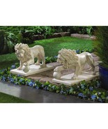 2 Lion Statue Driveway Garden Decor Set Of Two - New - $77.85