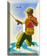 VINTAGE FISHING AD TRAVELING SINGLE LIGHT SWITCH PLATE - $8.99