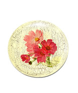 Lovely Decoupage decorative Plate Pink Flowers Floral Handmade Collector... - $24.74