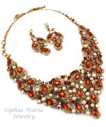 Stunning brown crystals teardrop evening metal necklace set mother of th... - $49.49