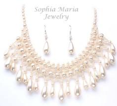 Very pretty cream pearl bridal necklace set chocker bridesmaids tear drop - $18.37