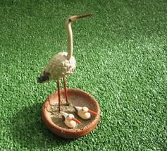Vintage White Stork Birds in Wooden Nest Pine C... - $31.68
