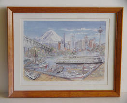 "Seattle Artist Yaeger Signed, Framed, Ltd Ed Print ""Welcome Home Kalakala"" - $31.00"