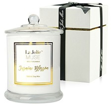 LA JOLIE MUSE Jasmine Scented Candle Gift Natural Soy Wax, 60 Hours Burn... - $19.07