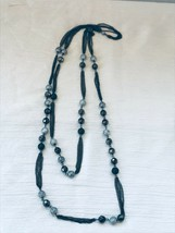 Estate Double Strand Black Multi Chain with Faceted & Silver & Black Spa... - $12.19
