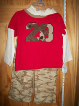 Carter Baby Clothes 24M Infant Bear Hoodie Shirt Top Outfit Set Brown Camo Pants - $16.14