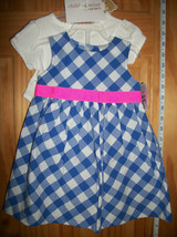 Carter Baby Clothes 6M-9M Newborn Girl Sweater Outfit Blue Checkered Dre... - $18.99