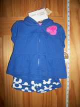 Carter Baby Clothes 3M-6M Newborn Girl Sweatshirt Outfit Blue Flower Sho... - $18.99