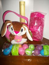 Dan Dee Easter Basket Kit Pink Plush DanDee Bunny Rabbit Tote Grass Treat Eggs - $18.99