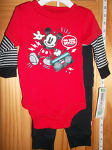 Disney Mickey Baby Clothes 3M-6M Mouse Creeper Outfit Red Newborn Black Pant Set - $16.14