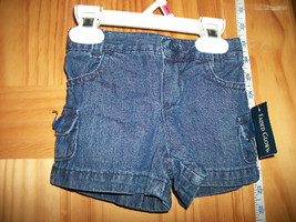 Faded Glory Baby Clothes 12M Infant Girl Shorts Blue Denim Jean Pull-up Bottoms - $9.49