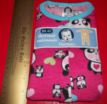 Fashion Gift Gerber Baby Clothes 18M Infant Thermal Creeper Pink Panda Unionsuit - $6.64