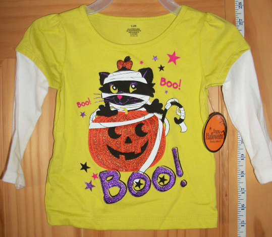Fashion Holiday Baby Clothes 12M Tee Shirt Cat Halloween Sparkle Pumpkin Boo Top