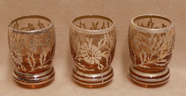 Set 3 Vintage Amber Glass Shot Glasses w/ Silve... - $18.76