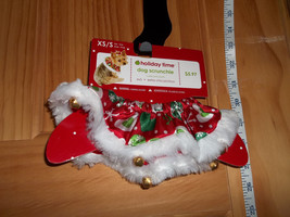 SimplyDog Pet Costume Dog Christmas Holiday Costume XS S Jingle Bells Scrunchie - $5.69