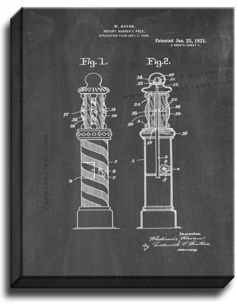 Primary image for Rotary Barber's Pole Patent Print Chalkboard on Canvas