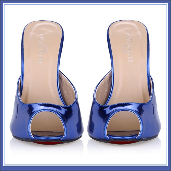Blue Red Silver Ultra Mirror Peep Toe Slide Boudoir Stiletto Mule Heel Slippers