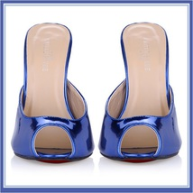 Blue Red Silver Ultra Mirror Peep Toe Slide Boudoir Stiletto Mule Heel Slippers image 1