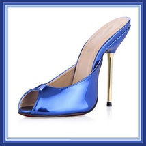 Blue Red Silver Ultra Mirror Peep Toe Slide Boudoir Stiletto Mule Heel Slippers image 2