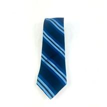 Bloomingdale's men's necktie 100% silk blue regimental striped pattern b... - $9.05