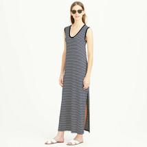 J. CREW Maxi Tank Dress in Stripe, Black/White, Size M, Modal, Pre-owned - $49.99
