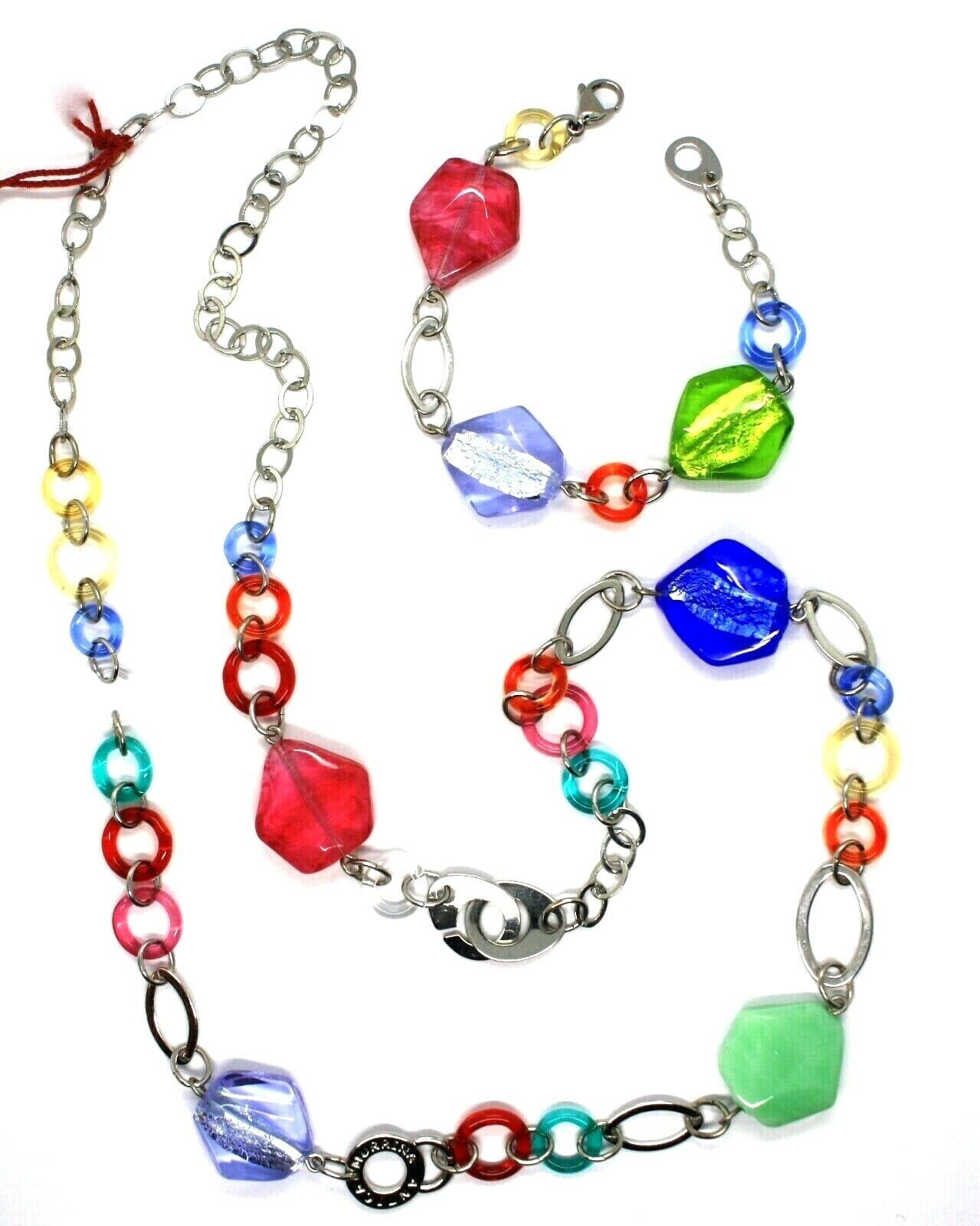 Necklace and Bracelet Antica Murrina Venezia CO525A19 Murano Glass Multicolour